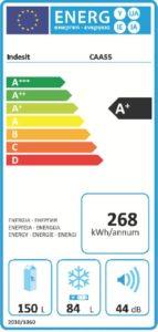 Etiqueta energética importante frigoticos Indesit